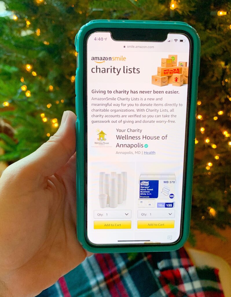 phone screen showing Amazon charity list