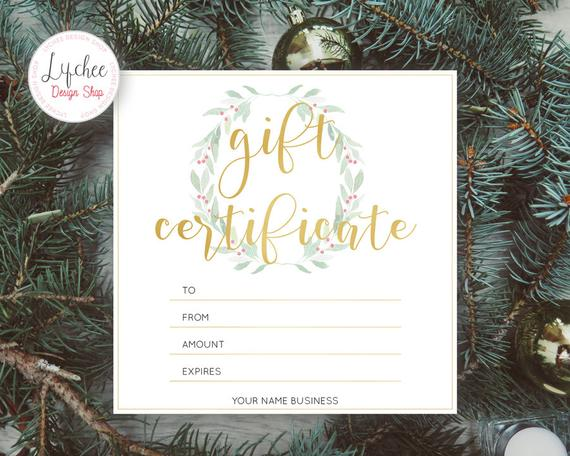 Printable Christmas Watercolor Wreath Gold Foil Gift Certificate Template | Editable Gift Card Photoshop template PSD INSTANT DOWNLOAD