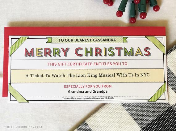 Christmas Gift Certificate Template in PDF for Print / Merry Christmas Gift Coupon / 4 x 9.25 /Printable / DIY / Adobe Reader Required