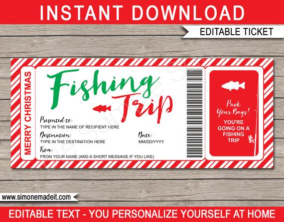 Surprise Fishing Trip Ticket Christmas Gift Voucher Pass Certificate