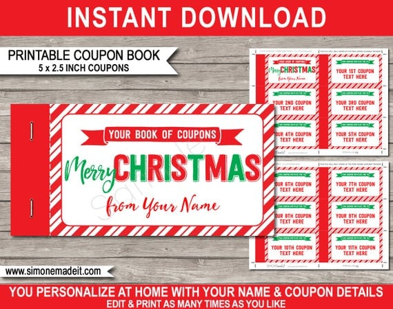 Printable Christmas Coupon Book Template - Last Minute Personalized Custom Gift Vouchers Certificate - INSTANT DOWNLOAD with EDITABLE text