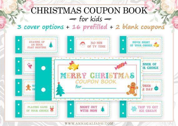 Christmas Coupon Book for kids, Christmas gifts, Holiday gift for kids, Stocking stuffers for kids, Printable Coupon Book, Last minute gift