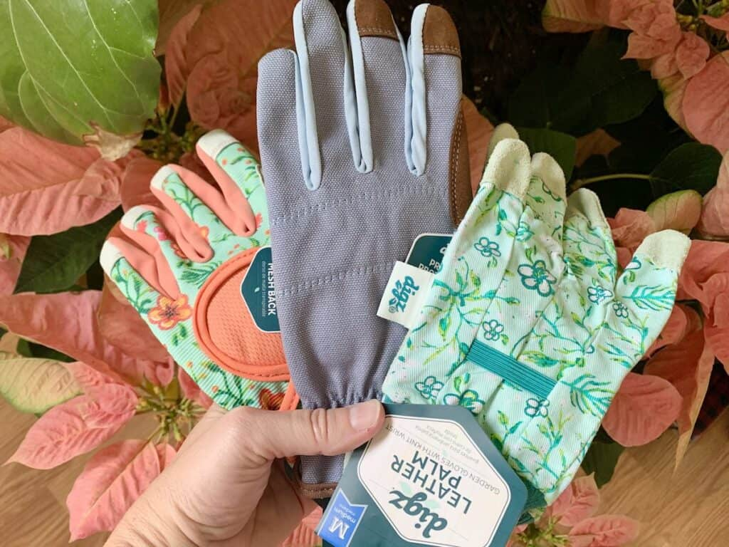 colorful gardening gloves