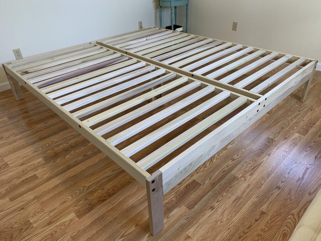 solid hardwood bed frame platform