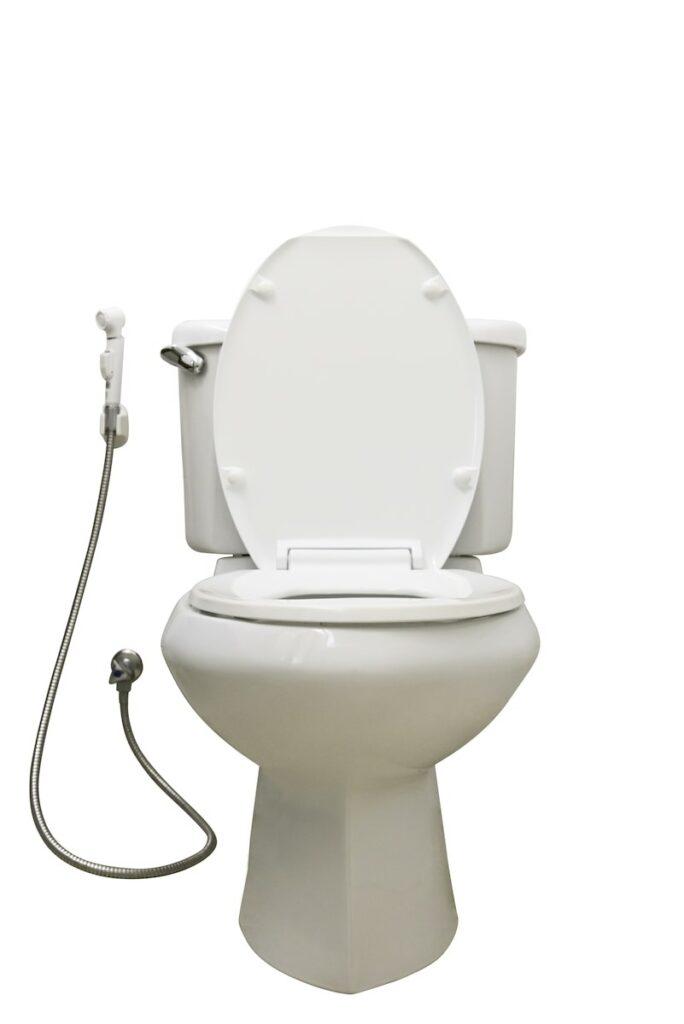 white toilet with bidet sprayer attachment