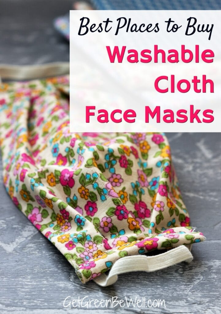 floral fabric cloth face mask on grey background