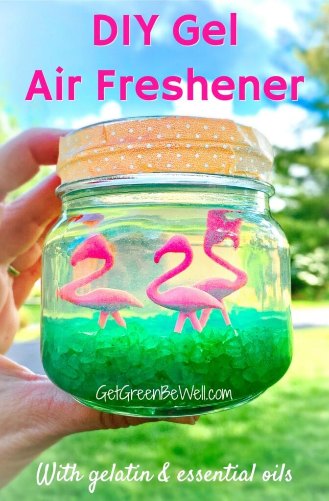 pink flamingo figurines in clear gelatin in mason jar