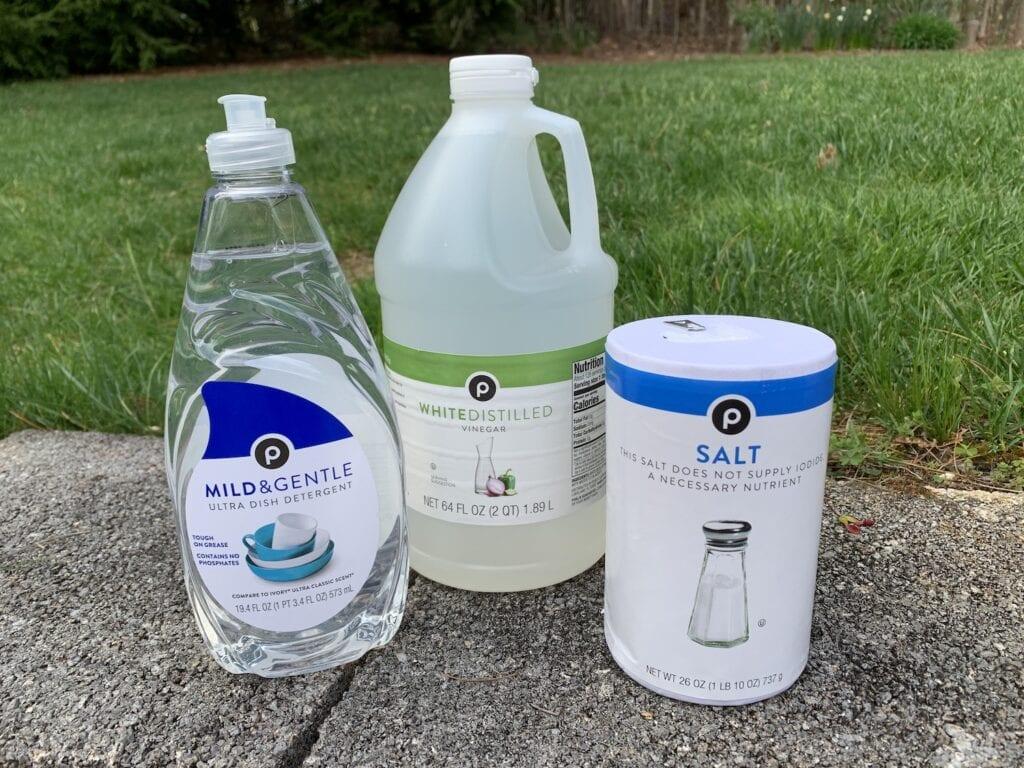 bottles of dish soap vinegar and salt against green grass