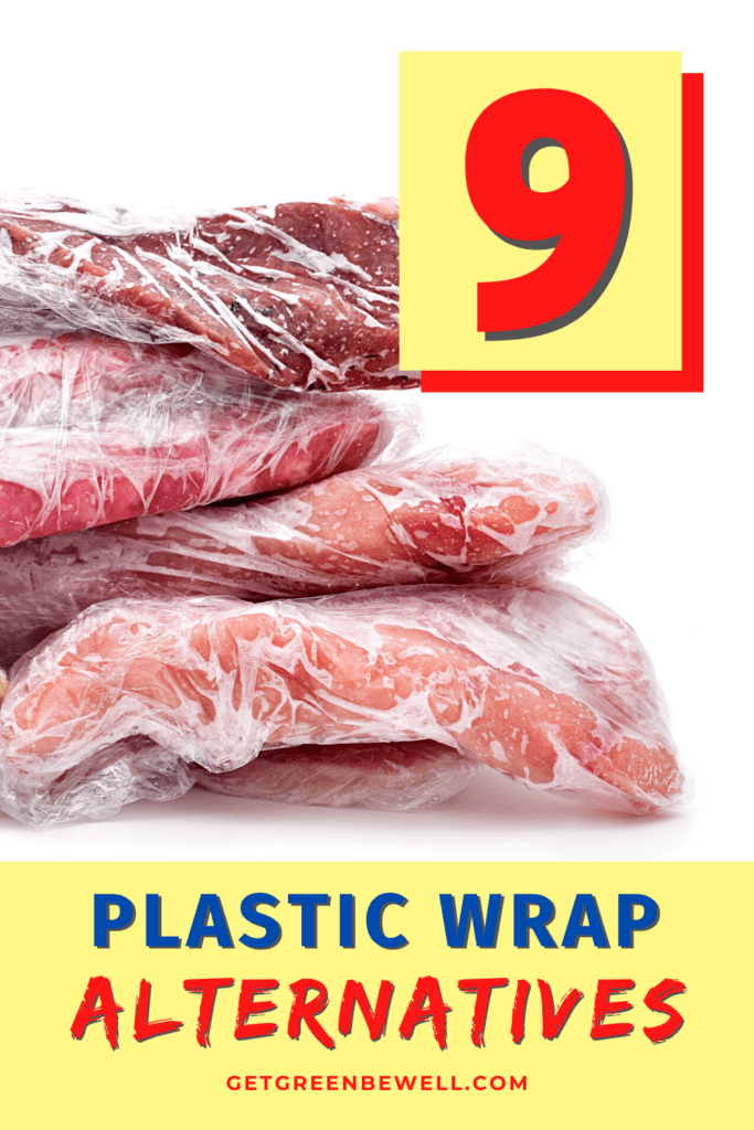 pieces of meat wrapped in Saran Wrap against white background