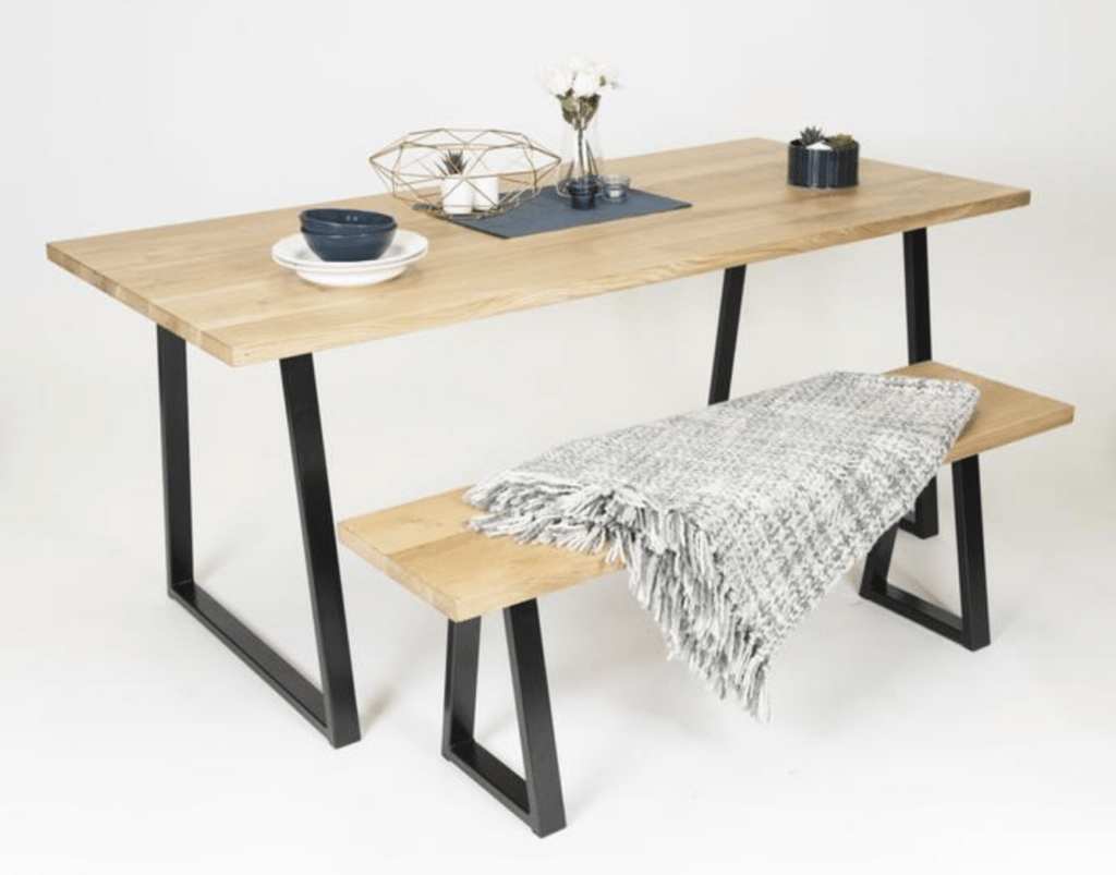 wooden table with wood bench
