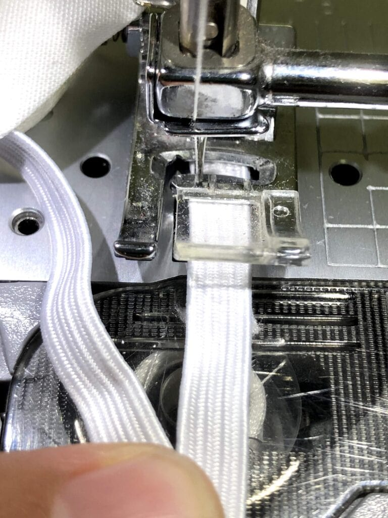 sewing elastic on a sewing machine