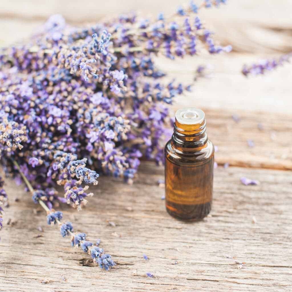 brown glass bottle on wooden table next to lavender flowers
