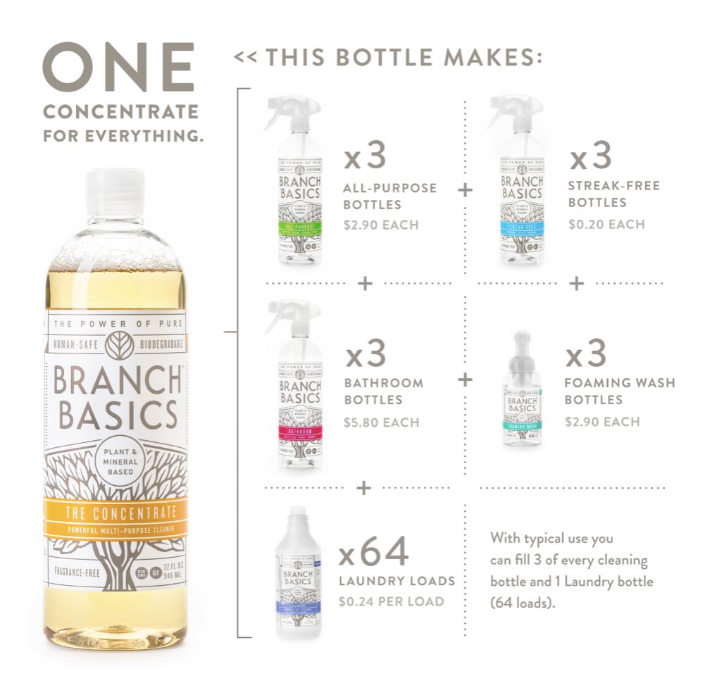 Branch Basics cleaning kit bottles