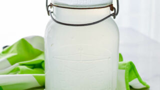 glass jar filled with homemade liquid laundry detergent