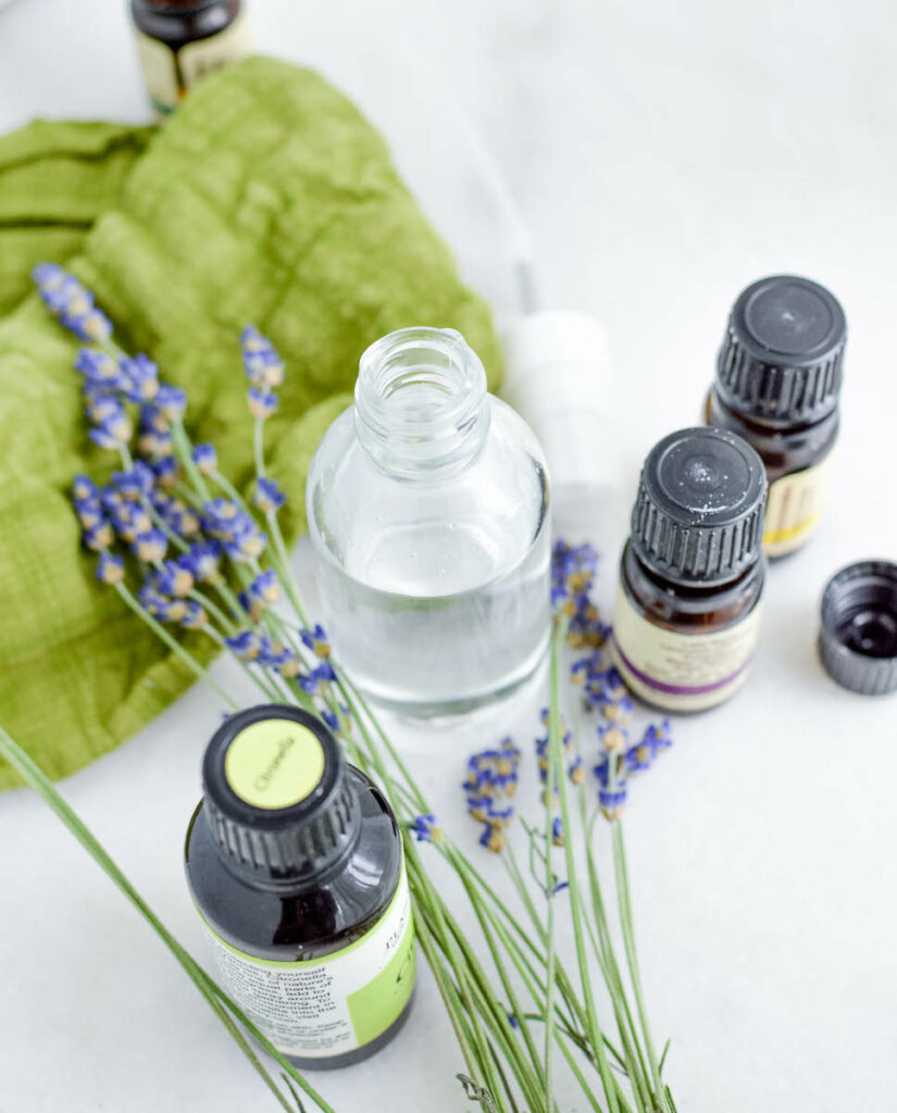 witch hazel and essential oil ingredients for homemade bug spray