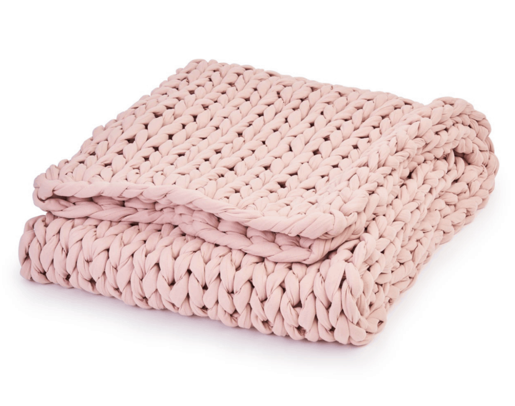 pink chunky knit throw blanket