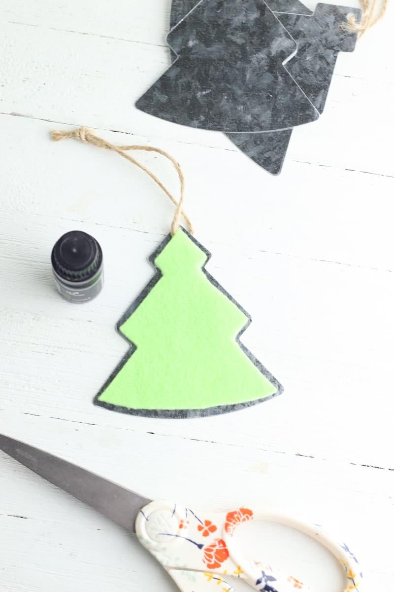 green felt glued to top of metal tree ornament