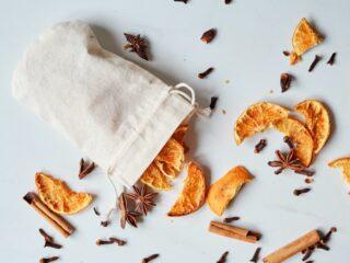 dried orange cinnamon clove potpourri in muslin bag