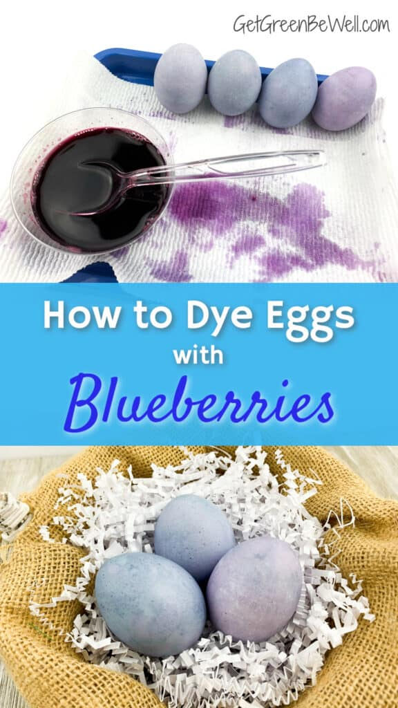 blueberry dyed eggs in a basket